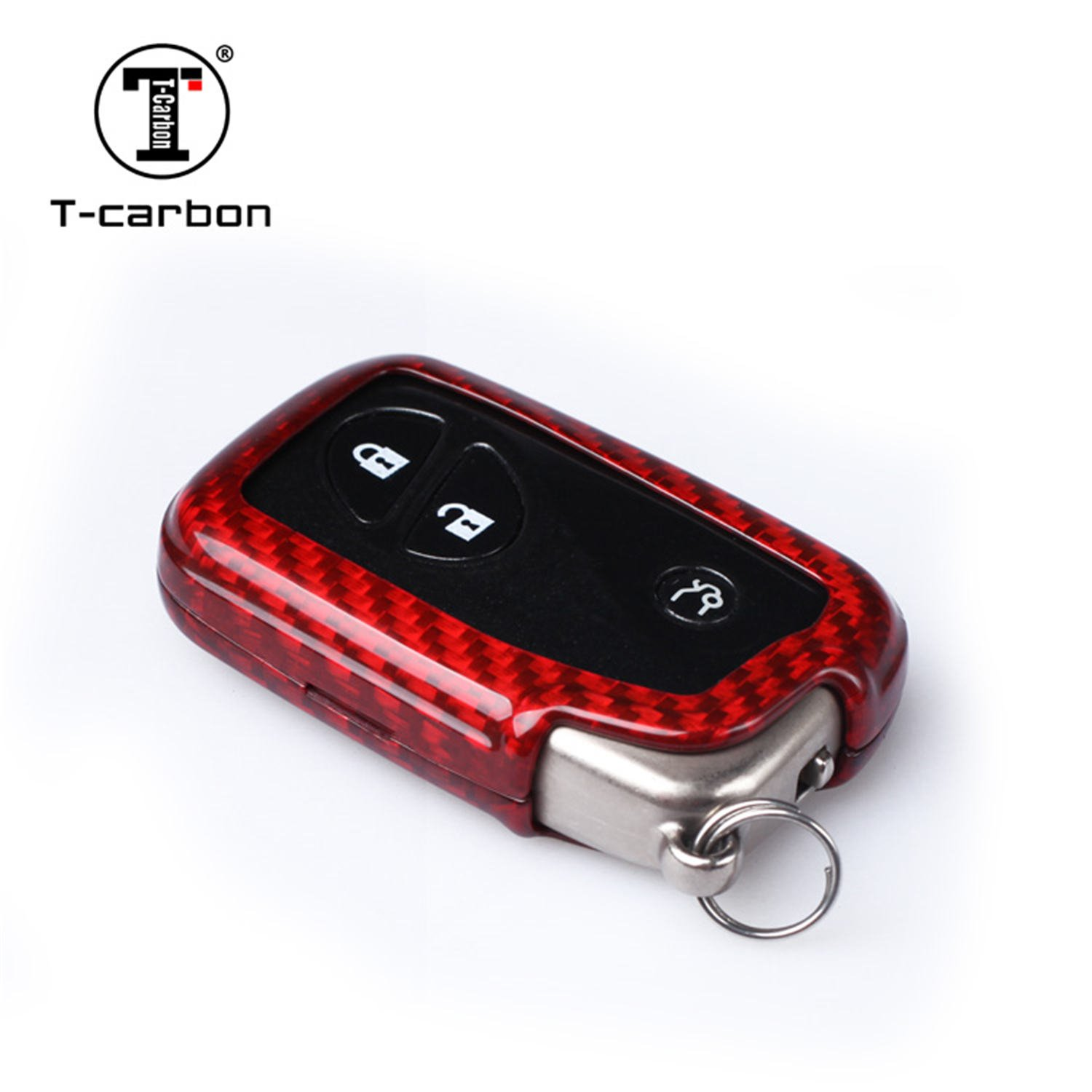 Carbon Fiber Key Fob Cover for Lexus Key Fob Remote Key, Fits Lexus GX Lexus CT Lexus SC Lexus LS Smart Keyless Start Stop Engine Car Key, Light Weight Glossy Finish Key Fob Protection Case - Red