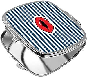مرآة جيب، شكل مربع، بتصميم شفاه حمراء