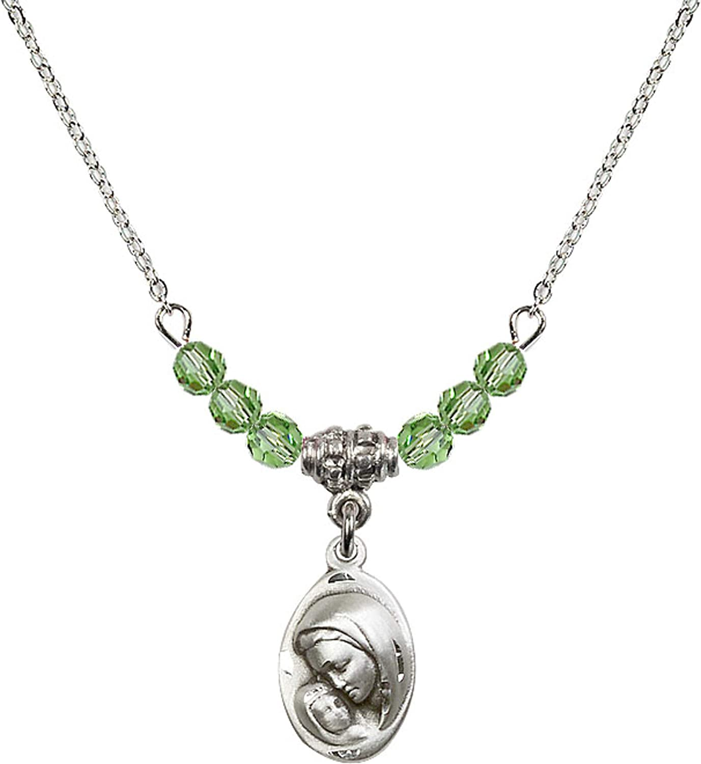 Bonyak Jewelry 18 Inch Rhodium Plated Necklace w// 4mm Green August Birth Month Stone Beads and Madonna /& Child Charm