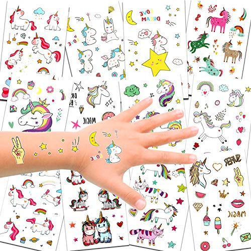 (Unicorn Temporary Tattoos for Children Kids Girls(Over 300pcs),Konsait Great Girls Fake Stickers Rainbow Unicorn Birthday Party Favors Birthday Party Gift Bag)