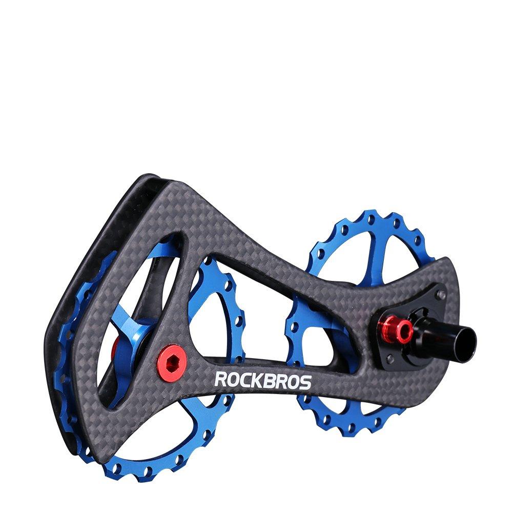 ROCKBROS(ロックブロス)17T ディレイラープーリー ビッグプーリー カーボン 自転車プーリー 20インチ以上 SHIMANO6800/6870/9000/9070Ultegra/DURA ACE等対応 B073CGXSDYブルー
