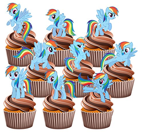 My Little Pony Rainbow Dash Cake Decorations - 12 Edible Stand-up Cupcake Toppers by AKGifts (7 - 10 BUSINESS DAYS DELIVERY FROM UK)