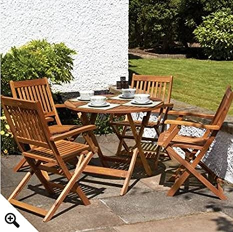 Redondo 4 plazas juego de mesa de madera y sillas con sillas ...