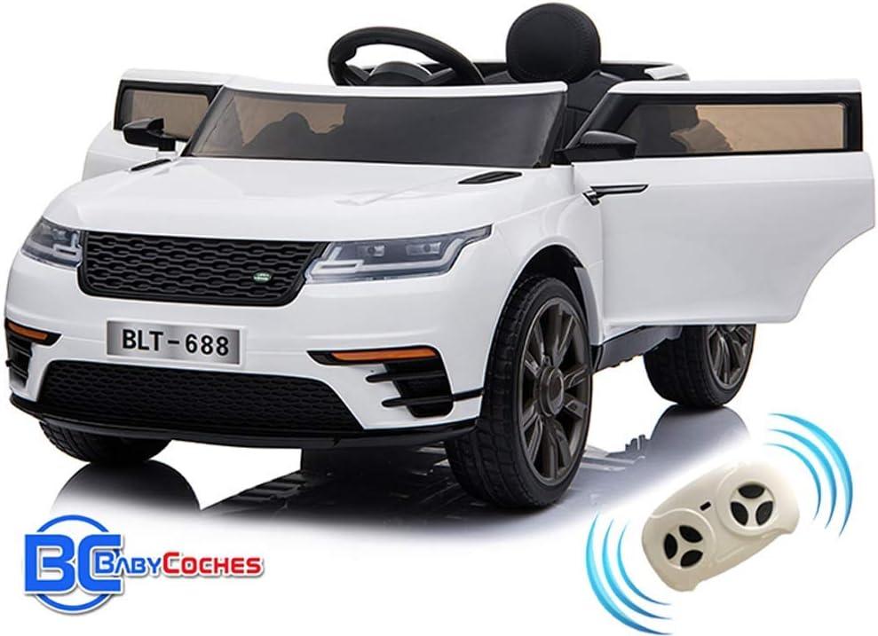 BC BABY COCHES Urban SUV Coche eléctrico para niños batería 12v con Mando teledirigido Padres - Blanco (Blanco)