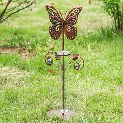 "A Ting 7"" Butterfly Easy-Read Metal and Glass Garden Rain Gauge"