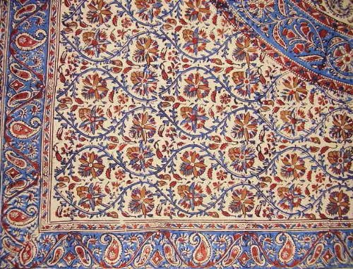 Homestead Block Print Tablecloth 60x60 for Square Tables Blue Red Cotton Kalamkari Paisley Floral Kitchen Table Linen