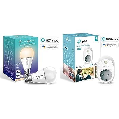 TP-Link - Bombilla LED, funciona con Alexa Altavoz Inteligente y Google Home, WiFi, 10W, 800lm (KL110) + HS100 Enchufe inteligente, funciona con Amazon Alexa y Google Home e IFTTT