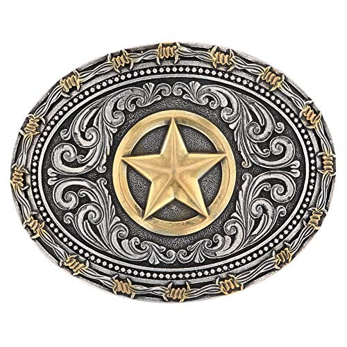 Montana Silversmiths Two Tone Rope & Barbed Wire Lone Star Attitude Buckle (A530)