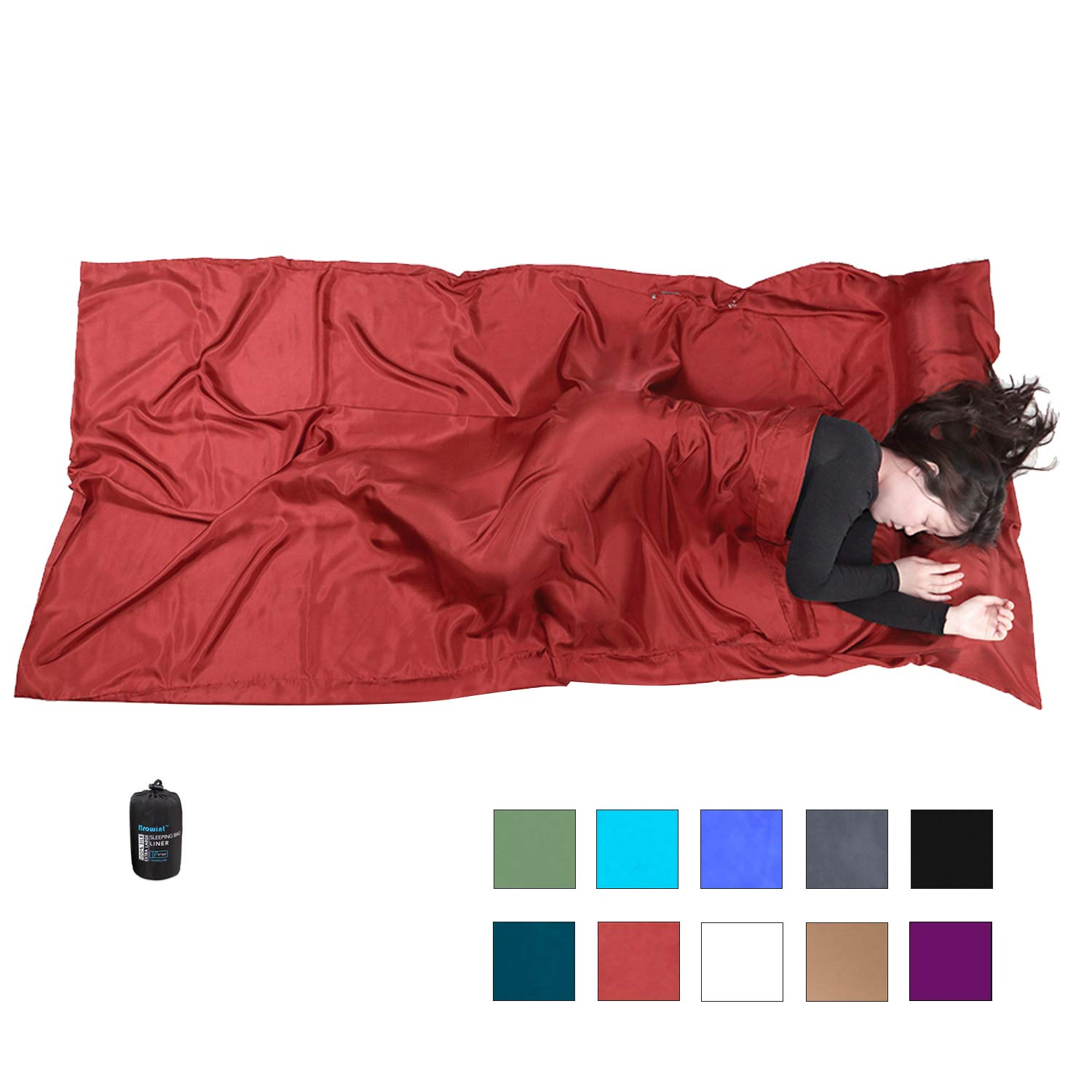 Browint Silk Sleeping Bag Liner, Silk Sleep Sack, Extra Wide 87''x43'', Lightweight Travel and Camping Sheet for Hotels, More Colors for Option, Reinforced Gussets