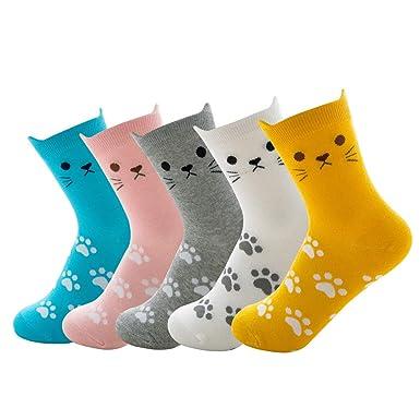 Okany 6 pares de Dibujos Animados Coloridos Patrón de Gato Regalo Conjunto Calcetines Divertido Diseño Lindo para Adultos: Amazon.es: Ropa y accesorios