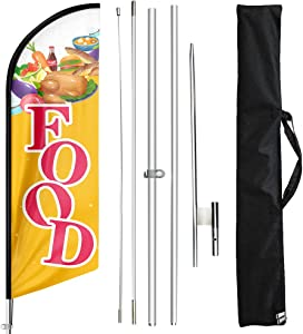 FSFLAG Food Swooper Flutter Feather Flag with Flagpole Kit and Ground Stake, 11 Foot Feather Flags Kit for Sale House Business