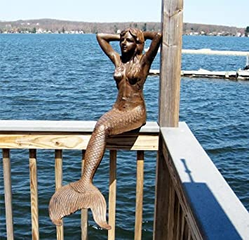 48u0026quot; Sitting Sunning Mermaid Statue Iron Rust Finish