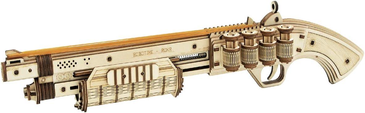 ROKR 3D Wooden Puzzle Rubber Band Gun Model Toys DIY Craft Kits Brain Teaser Gift for Kids Adults(Shotgun)