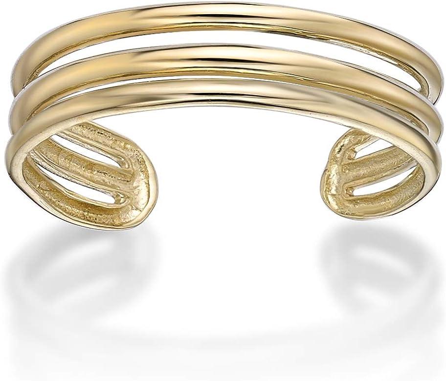Yellow or White Ritastephens 14k Solid Gold Shiny High Polished Plain Band Toe Ring Adjustable