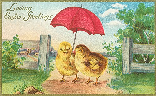 Loving Easter Greetings Baby Chicks with Umbrella
