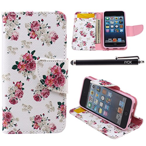 iPod Touch 5 Case, i Touch 6 Case Wallet, iYCK Premium PU Leather Flip Folio Carrying Magnetic Closure Protective Shell Wallet Case Cover for iPod Touch 5/6 with Kickstand Stand - Pink Peony Flower