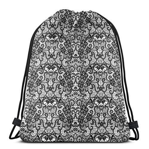 2019 Funny Printed Drawstring Backpacks Bags,Classical Bridal Composition Vintage Spring Motifs Victorian Wedding Inspirations,Adjustable String Closure