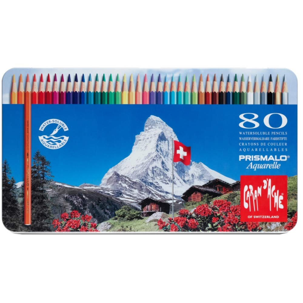 Caran D'ache Prismalo Aquarelle Coloured Water-soluble Pencil (pack Of 80)