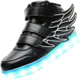 luckfugui Kids Christmas Toddler Boy Girl LED Lights UP Shoes 11 Colors High Top Flashing Sneakers Cool Light, Hiphop Shoes,Street Dance Shoes