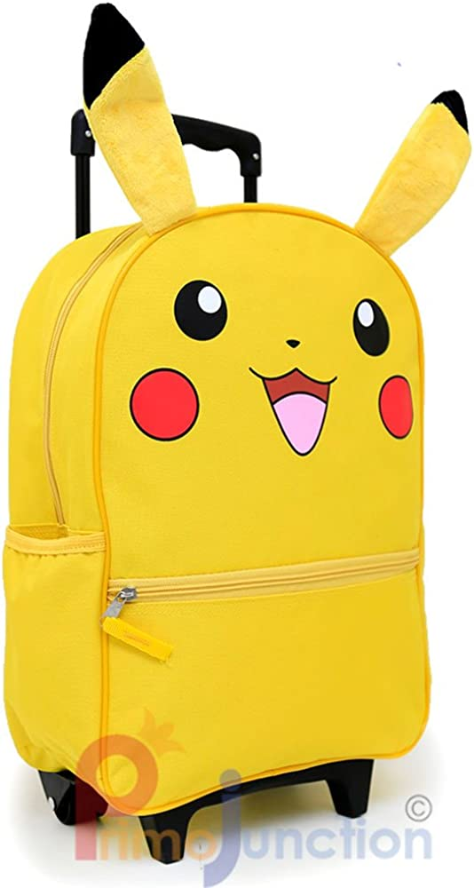 Pokemon Pikachu 16 Large School Roller Backpack Lunch Bag 2pc Set with Plush Ear