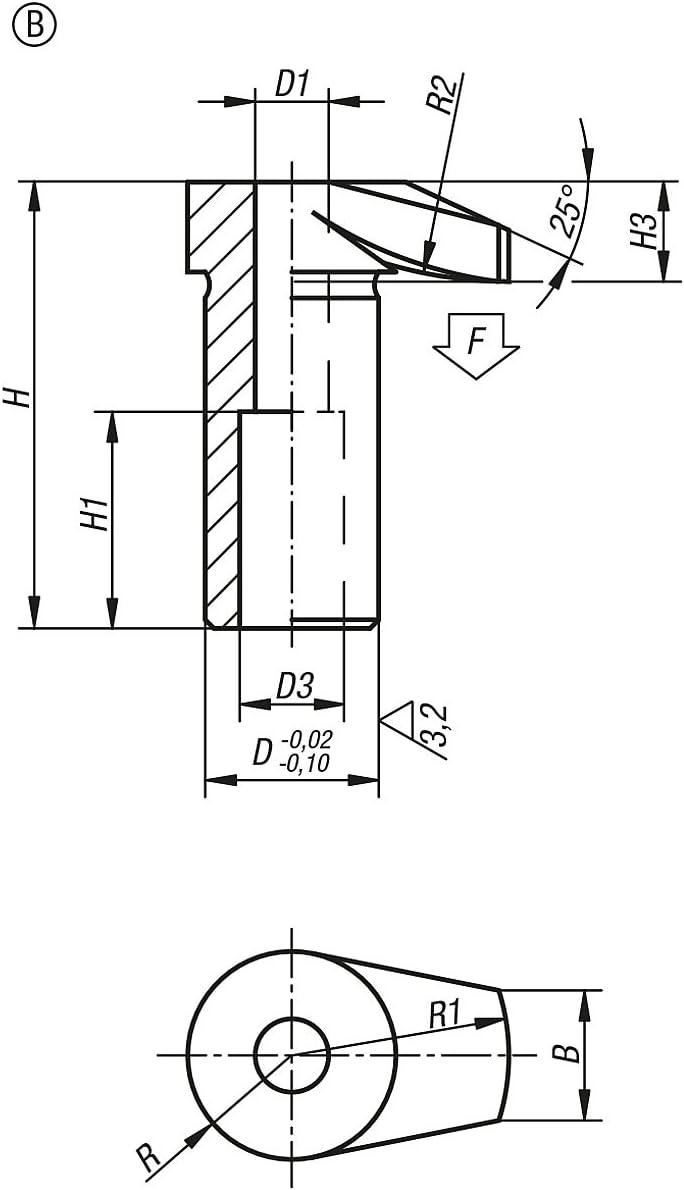 Pack of 1/K0012.108 Tilt Tension Hooks Diameter 20/Height 51.5//B Coating Steel