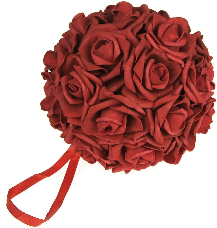 Party Spin Soft Touch Foam Rose Flower Kissing Ball Wedding Centerpiece, 7-inch (Red)