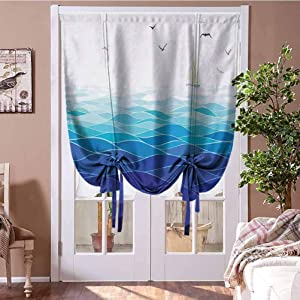"""GugeABC Roman Shades for Windows Aqua Thermal Insulated Blackout Curtain Graphic Ocean Waves Sailboat with Birds Seagulls Seascape Horizon Maritime 27"""" W x 64"""" L Navy Blue Aqua White"""