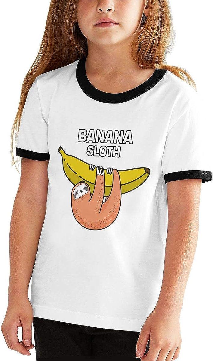 XTtadco Kids Cotton Short Sleeve T Shirt Banana Sloth Teen Girls Boys Printed Graphic Tee