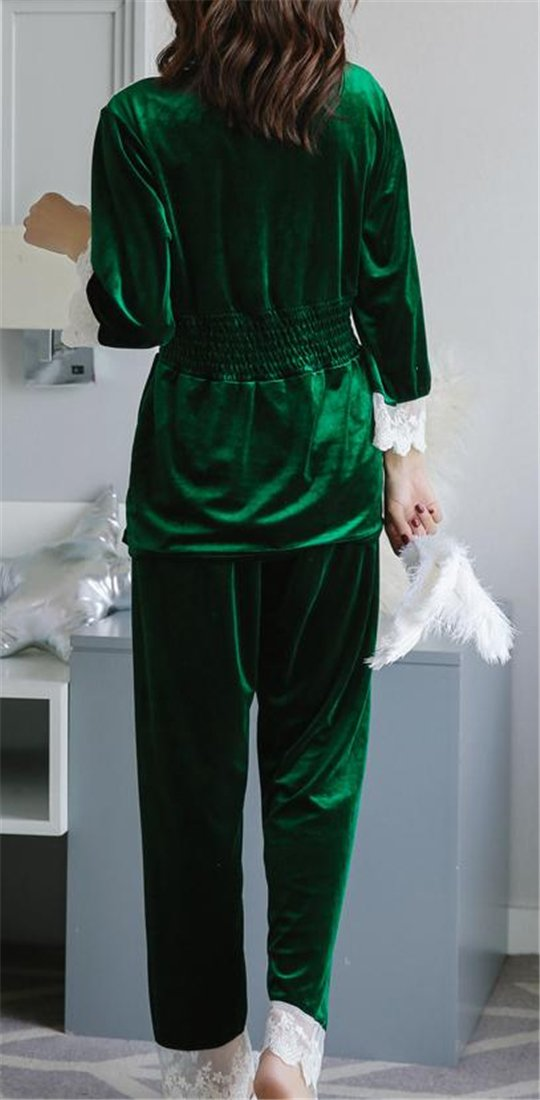 YUNY Womens Sleepwear Long Sleeve Lace Trim Velour Pajama Set at Amazon Womens Clothing store: