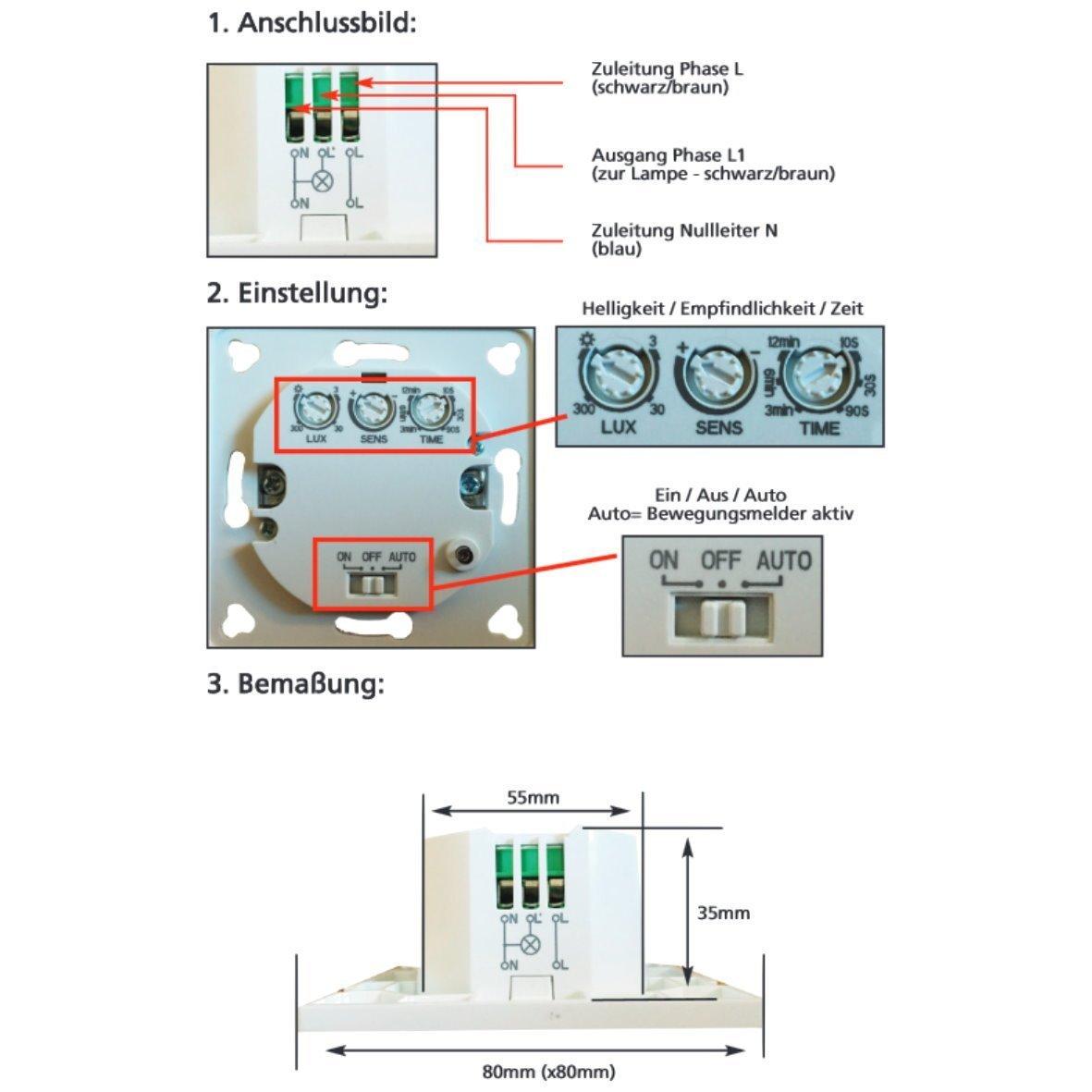 Unterputz HF Radar Bewegungsmelder Wand Einbau - LED geeignet ...