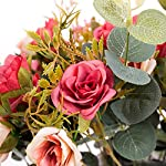 YILIYAJIA-Artificial-Rose-Bouquets-with-Ceramics-Vase-Fake-Silk-Rose-Flowers-Decoration-for-Table-Home-Office-Wedding-Dark-red