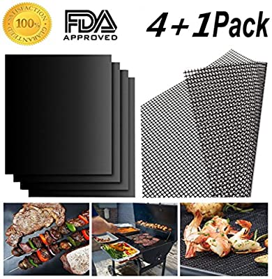 BBQ Grill Mat - Set of 4 Pack Non-Stick + 1 Pack Mesh Barbecue Grill & Baking Mats - 13×15.75inch - Heat Resistant,Reusable,Easy to Clean - Best for Gas,Charcoal,Electric Grill and More