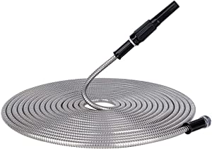 Give Me 100FT Metal Garden Hose, 304 Stainless Steel Water Hose with Free Nozzle and Solid Metal Fittings, Flexible, Kink Free, Lightweight and Durable