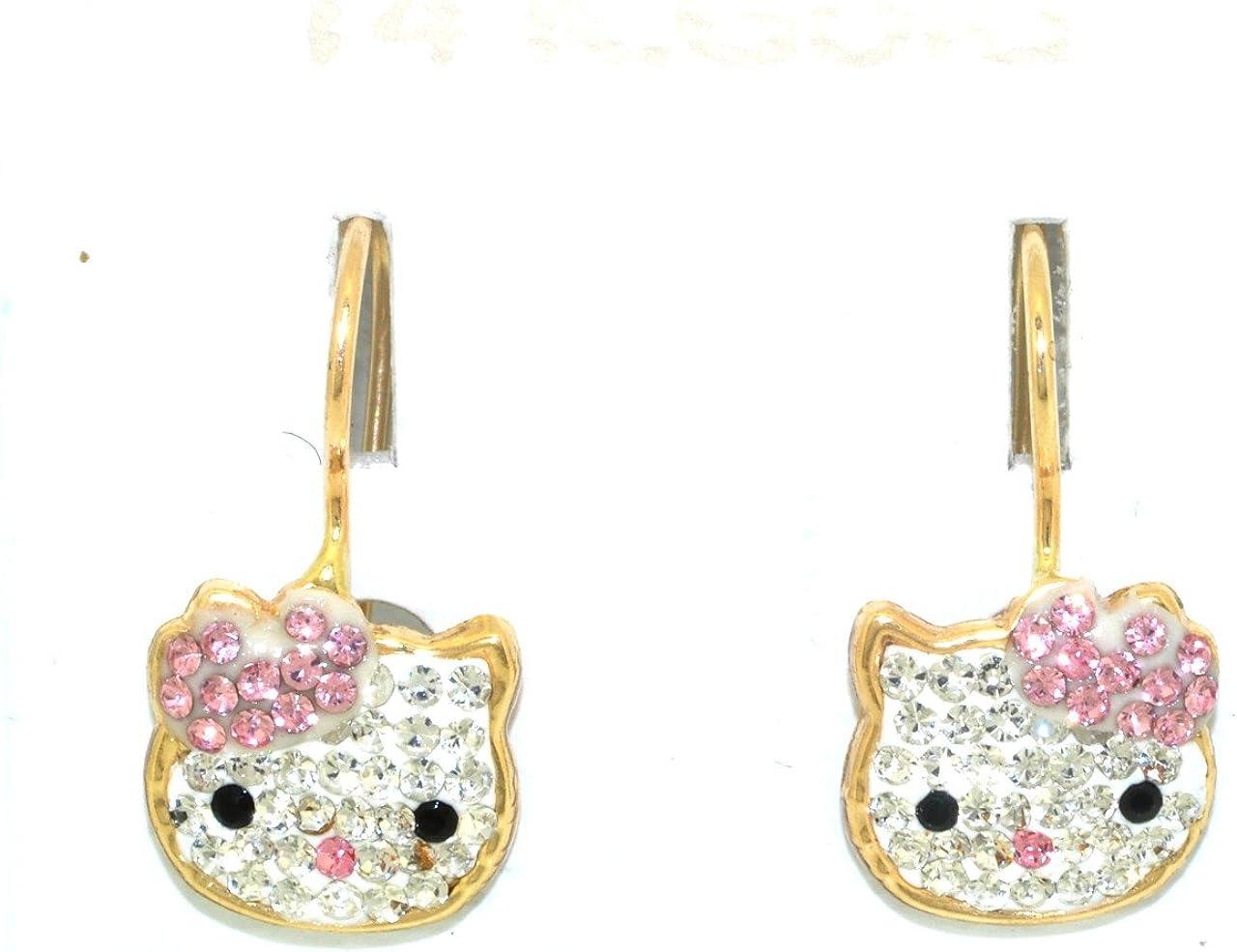 14k Kitty earrings