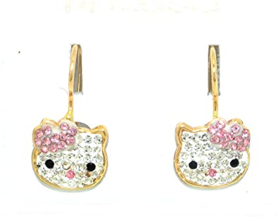 de36433bd Amazon.com: 14K Yellow Gold Pink And White CZ Hello Kitty Earrings ...