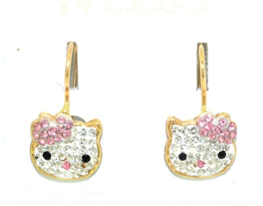 Amazoncom 14K Yellow Gold Pink And White CZ Hello Kitty Earrings