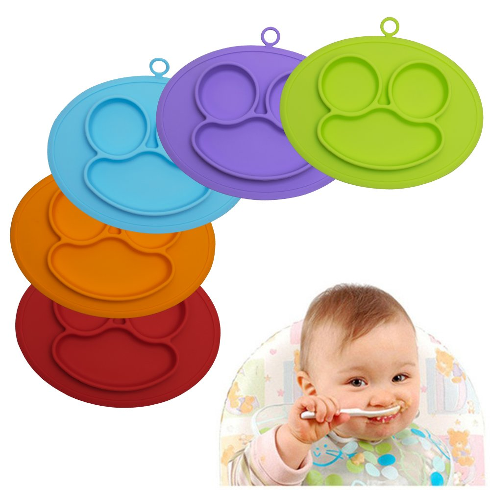 URSMART Baby Rice Plate Silicone Food Placemats Kids Suction to Dining Table Kitchen Dinnerware (blue) by URSMART (Image #5)