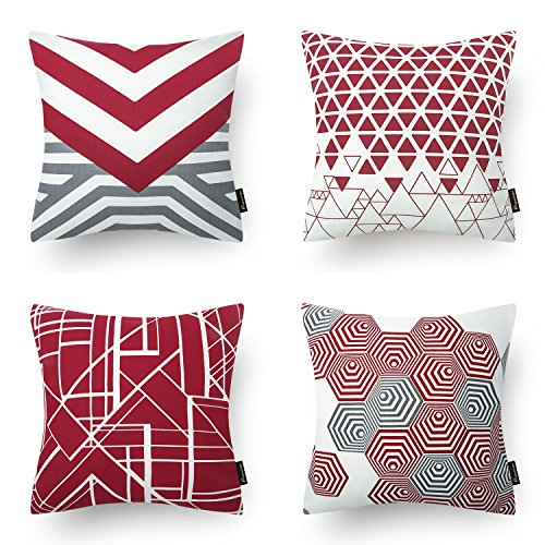 Phantoscope Set of 4 Red Geometric 100% Cotton Throw Pillow Case Cushion Cover 18