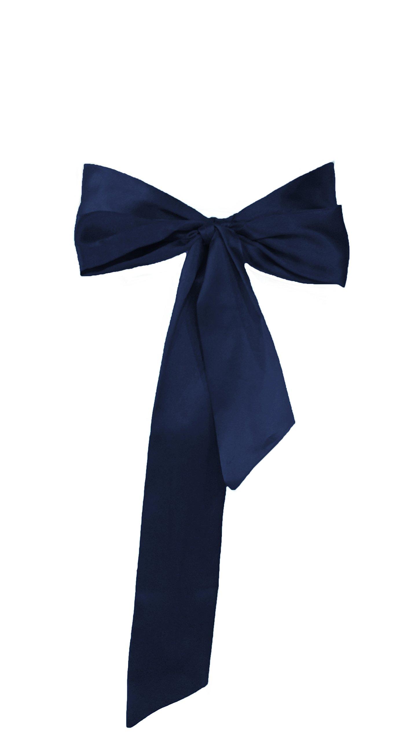 Dobelove Solid Color Satin Belt for Special Occasion Dress Bridal Sash (Navy)
