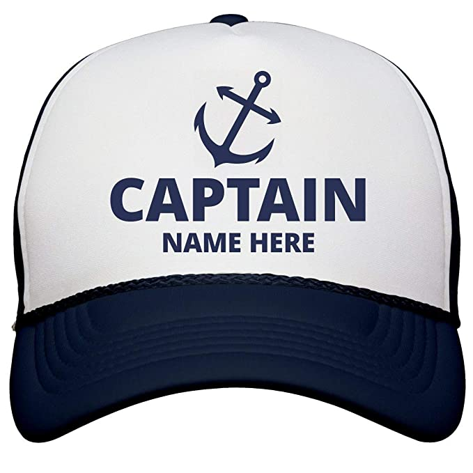 b7bd0477 Amazon.com: Captain Custom Name Dad Gear: Snapback Trucker Hat White/Navy:  Clothing