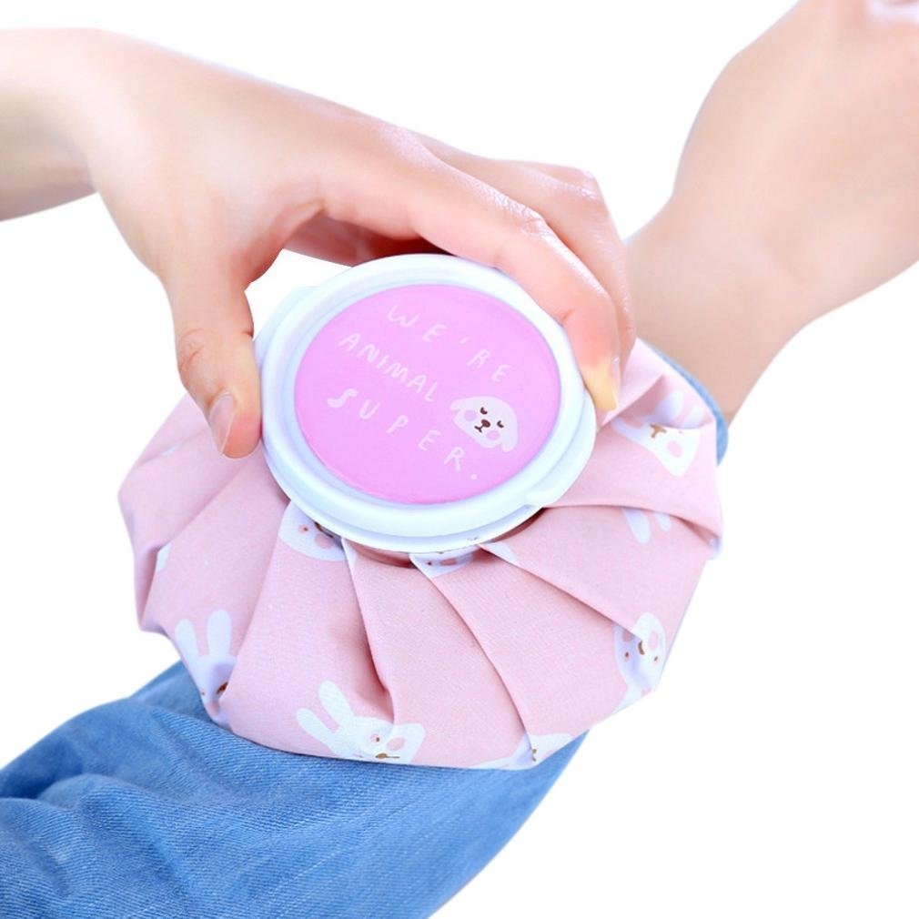 Kingko® Ice Reusable Bag for Injuries & Reduce Swelling, Cold Pack Screw Top Lid, 5 inch diameter size, cute sweety style design (C)