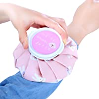 Kingko® Ice Reusable Bag for Injuries & Reduce Swelling, Cold Pack Screw Top Lid, 5 inch diameter size, cute sweety style design (A)