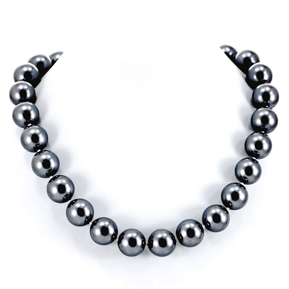 003 Ny6Design 16mm Black Shell Pearl Knotted Necklace w Gold Plated Box Clasp 18'' N13010125e
