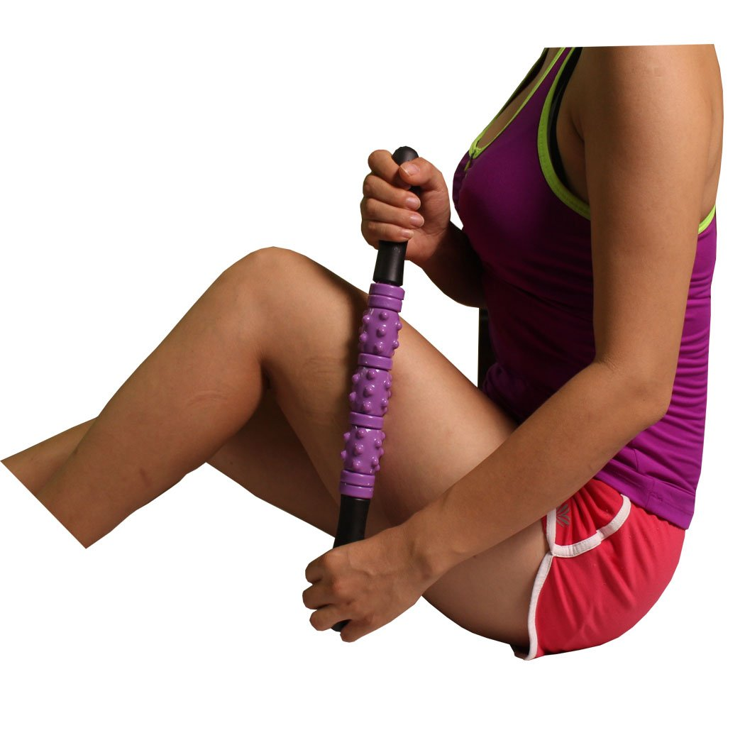 Massage Stick, Best Muscle Roller Stick for Athletes, Runners, Bikers, and CrossFiter, Good for Home and Travel (Purple)