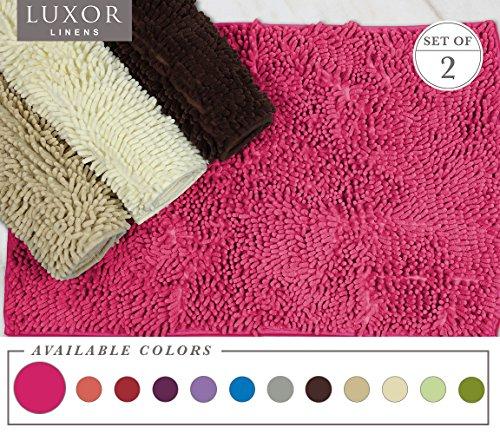 Luxor Linens - Bath Mat Shag Chenille - Rubber Backed & Non Slip (20