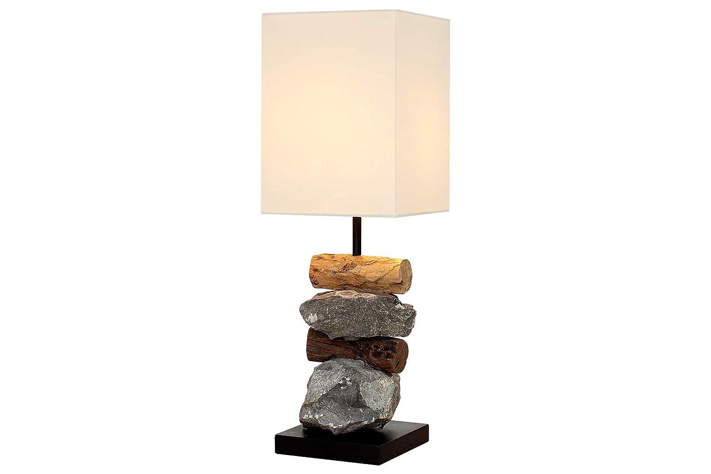 DuNord Design Tischlampe Tischleuchte Treibholz Schwemmholz Stein NATURA weiß Naturholz Unikat