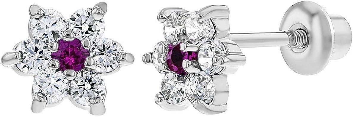 B/éb/é Fille Fleur Boucles d/'oreilles Plaqu/é Rhodium Cristal Clair Tiges poussettes s/écurit/é /à vis In Season Jewelry