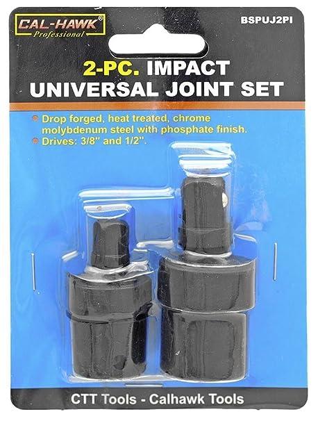 "2Pc 3//8/"" /& 1//2/"" Drive Cr-Mo Ball Type Universal Joint Impact Socket Adapter Set"