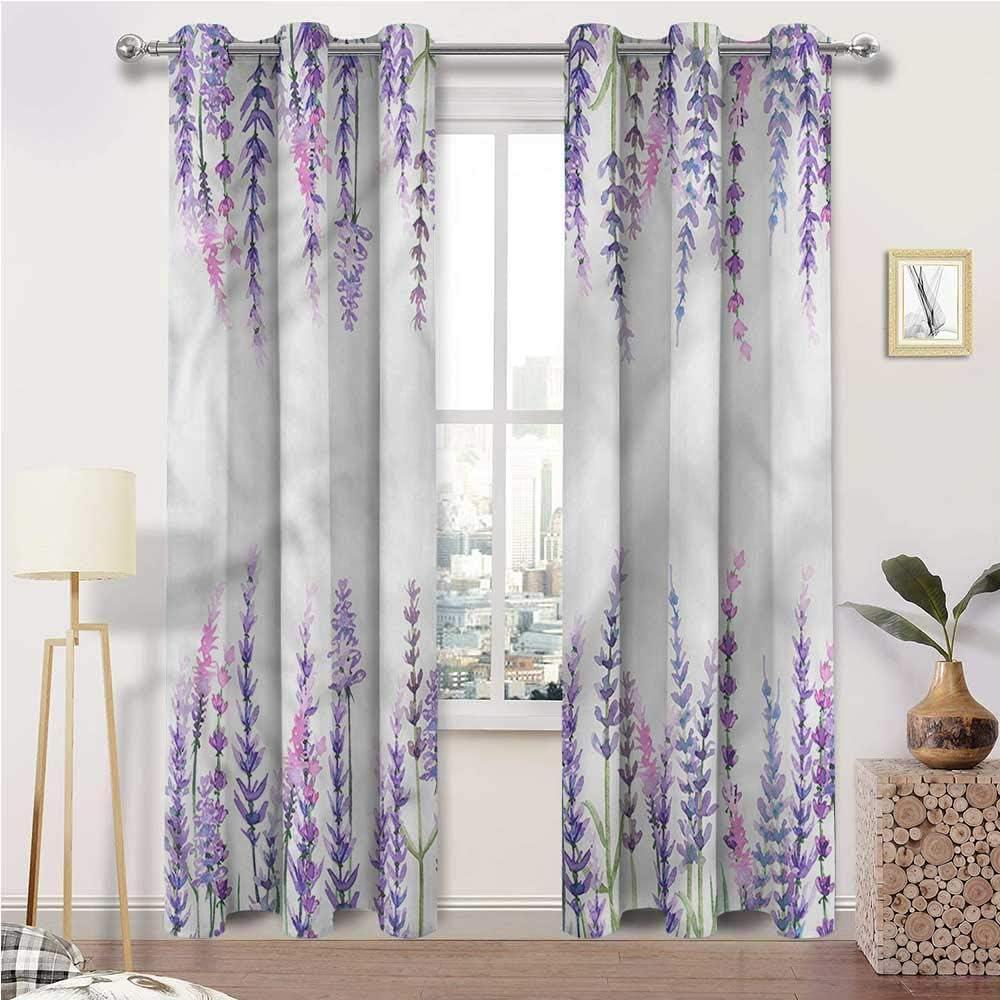 Interestlee Curtains for Bedroom, Purple Window Drape for Home Windows Balcony Kitchen, Lavender Aromatic Shrubs Set of 2 Panels, 120 Width x 84 Length