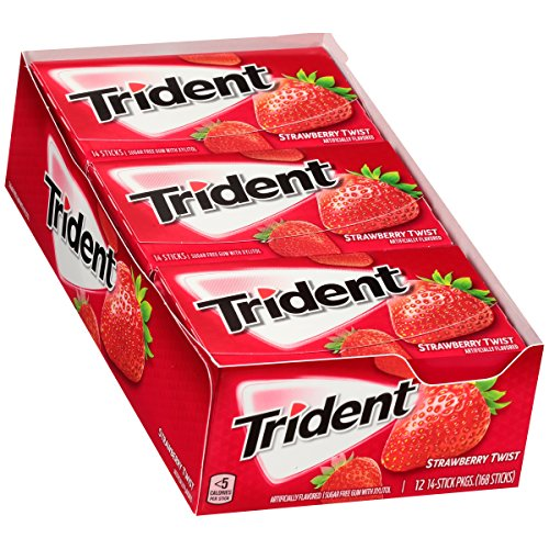 Trident Strawberry Twist Sugar Free Gum - with Xylitol - 12 Packs (168 Pieces Total) (Sugar Free Strawberry Gum)